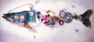 Coarse fishing experiment.Let the dreadful engines of eternal will, 1998 watercolour 120 x 240cm (sold)