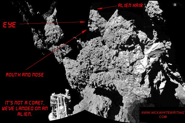 there's a hidden face on the comet in the news
